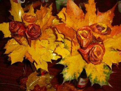Розы из осенних листьев своими руками (27) (400x300, 147Kb)