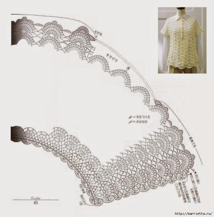 Белая ажурная туника с коротким рукавом. Вязание крючком (2) (687x700, 215Kb)