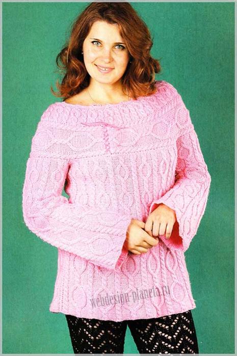 rozovyj-pulover-s-aranami-spitsami-foto (465x700, 367Kb)