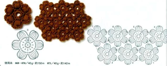 Крючком цветы из пышных столбиков