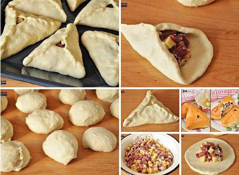 Как слепить треугольные пирожки из дрожжевого теста пошагово