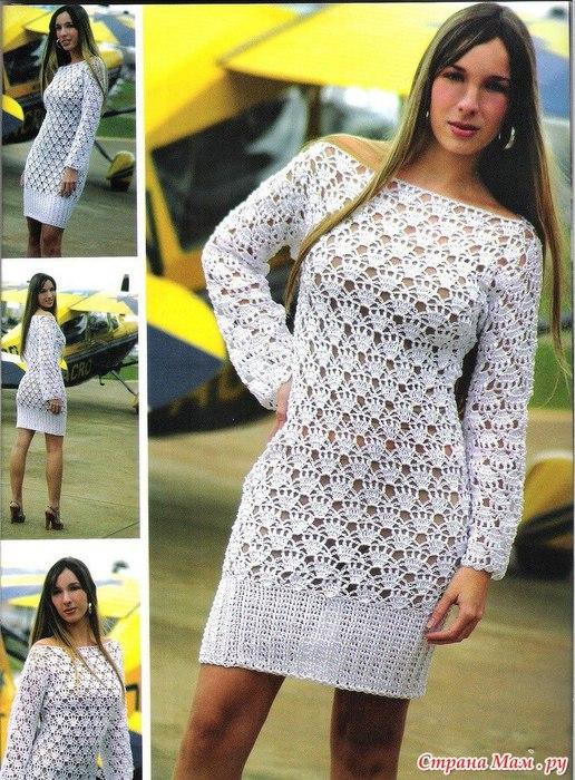 Платье женское крючком схема и описание