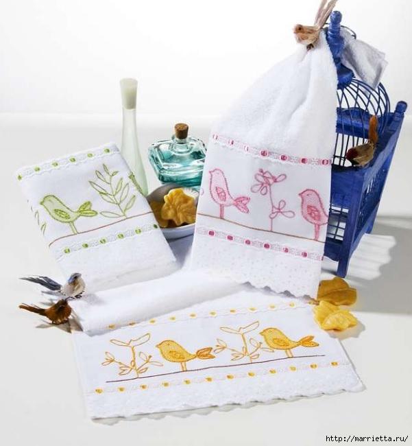 Птички на кухонном полотенце. Вышивка (1) (601x650, 159Kb)
