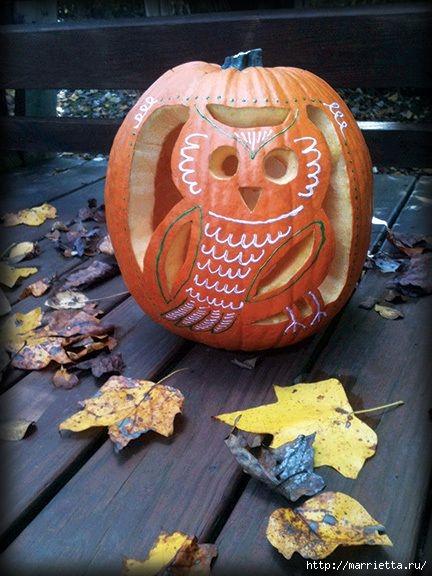 СОВА из тыквы. Идеи декора к Хэллоуину (3) (432x576, 165Kb)