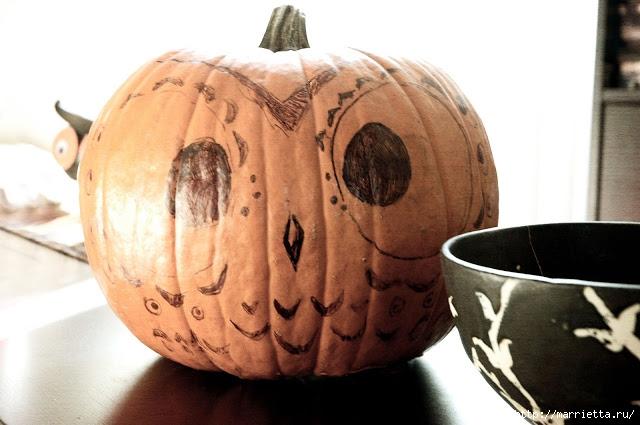СОВА из тыквы. Идеи декора к Хэллоуину (9) (640x425, 161Kb)