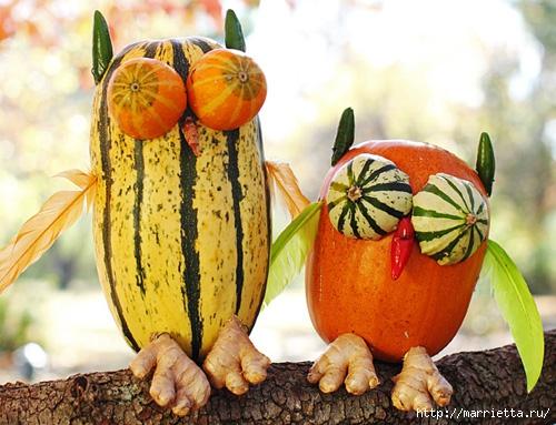 СОВА из тыквы. Идеи декора к Хэллоуину (30) (500x383, 174Kb)