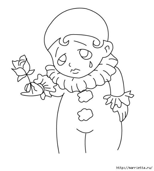 Арлекино, Пьеро и Коломбина. Идея росписи цветочных кашпо (10) (514x570, 69Kb)