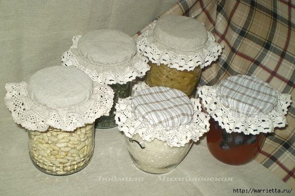 Декорирование крышек для баночек тканью (29) (600x399, 206Kb)