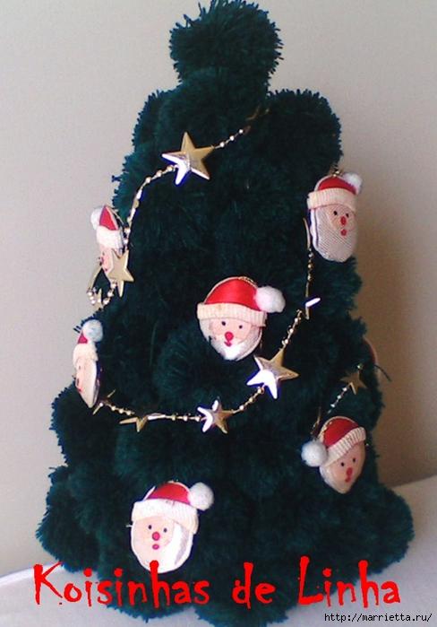 Árboles de navidad y muñecos de nieve de pompones (3) (488x700, 235 Kb)