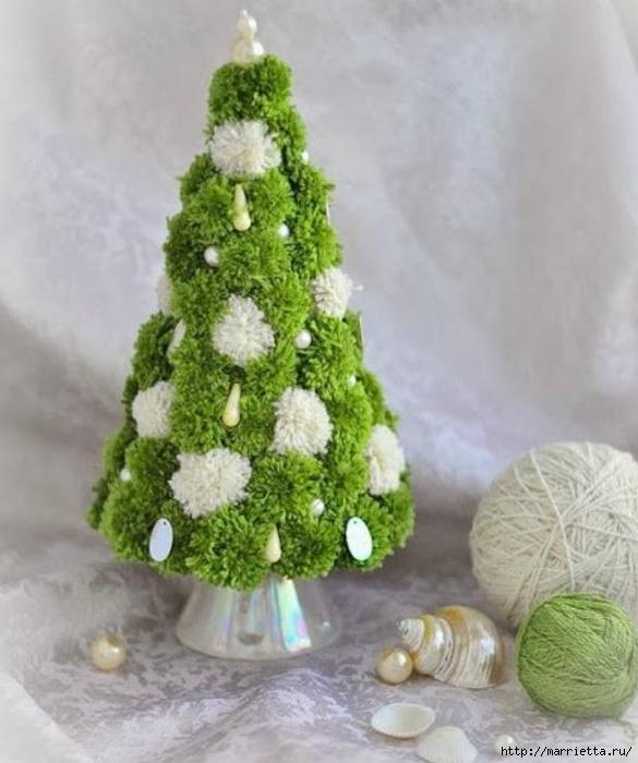 Árboles de navidad y muñecos de nieve de pompones (4) (585x700, 224Kb)