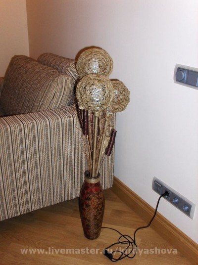 Напольный светильник своими руками - из вазы и шпагата (3) (400x536, 160Kb)