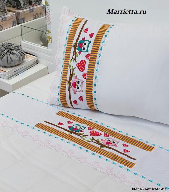 Совушки на постельном белье. Схема вышивки крестом (3) (576x656, 233Kb)