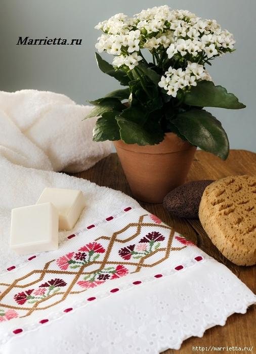 Цветочная вышивка крестом для полотенца. Схема (1) (506x700, 261Kb)