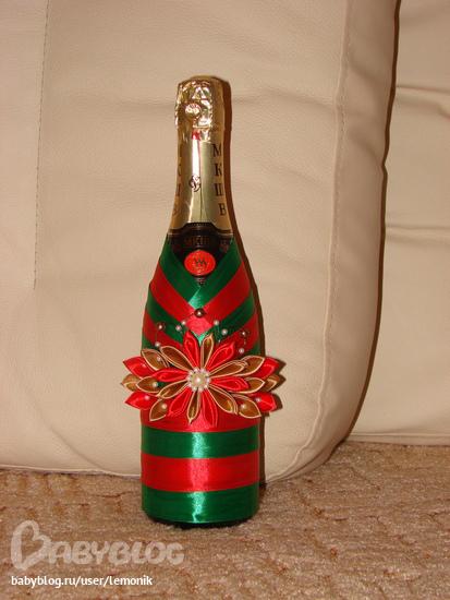 Украшаем бутылку шампанского к новому году своими руками