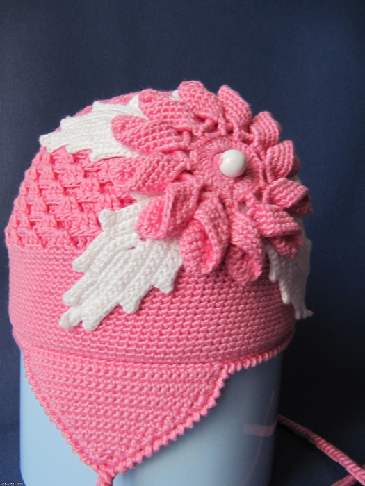 Крючки: шапка 2мм, цветок 1