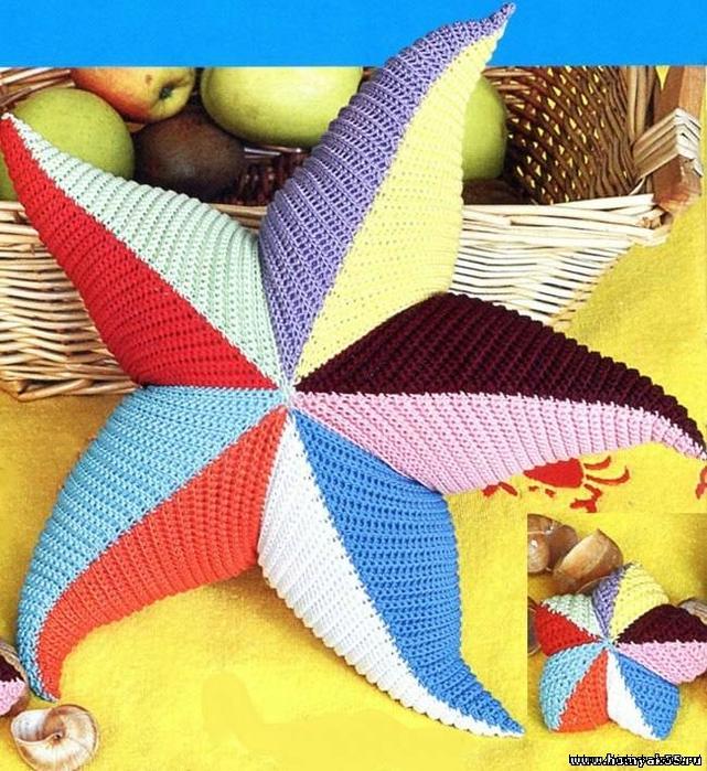 необычные диванные подушки, как связать диванную подушку, как связать подушку звездочку, схема вязания подушки звезды, как связать звезду Хьюго Пьюго,