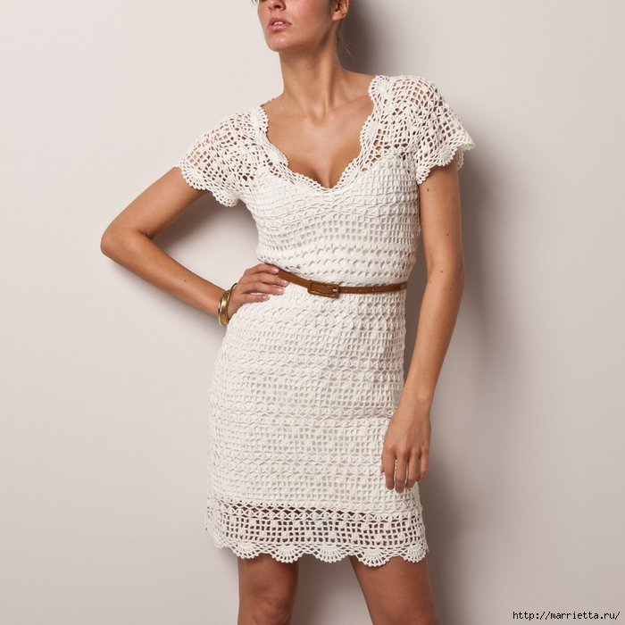Вязание крючком. Платье с коротким рукавом (4) (700x700, 248Kb)