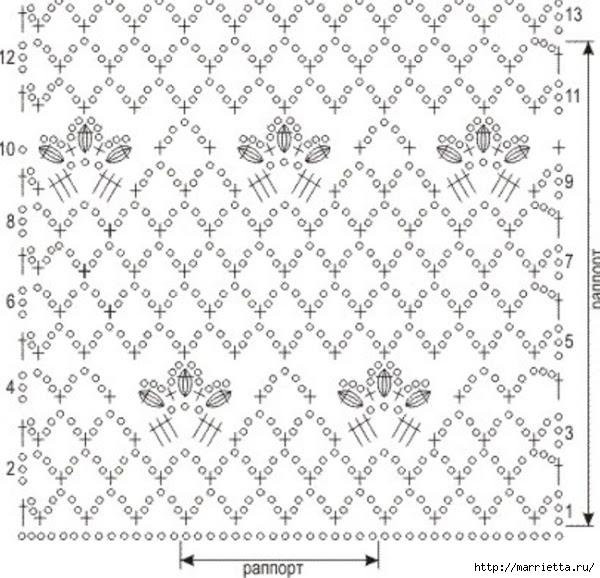 Вязаная крючком туника. Схема (3) (600x578, 208Kb)