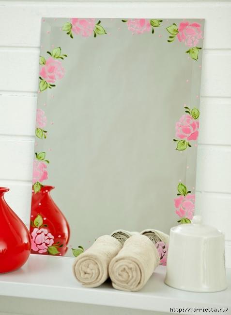 Rosas románticas espejo.  La idea de la pintura (1) (477x649, 117Kb)