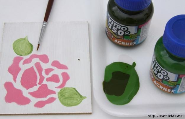 Rosas románticas espejo.  La idea de la pintura (5) (626x403, 110KB)