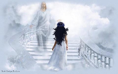 Женщина и Иисус на лестнице