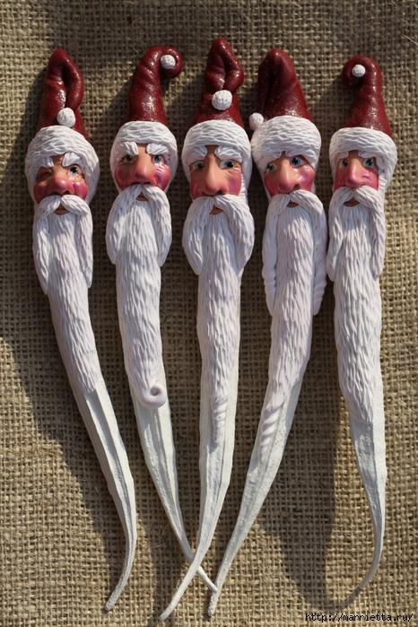 Новогодняя подвеска Санта Клаус из полимерной глины (4) (466x700, 335Kb)