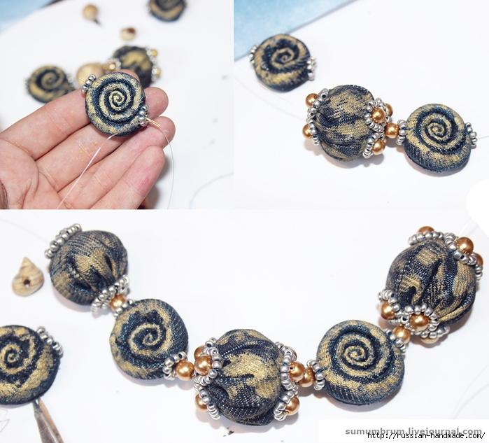 Джинсовое ожерелье из ракушек, бисера и бусин (1) (700x633, 274Kb)
