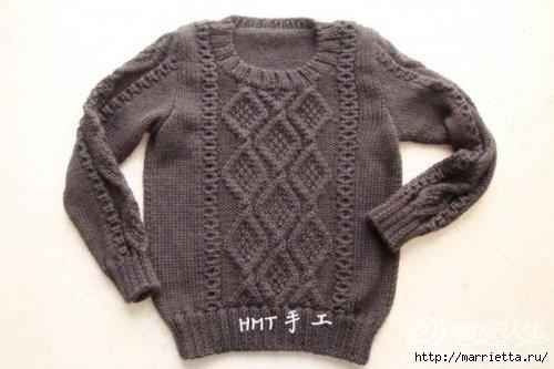 Теплый пуловер спицами для мальчика (3) (500x333, 87Kb)