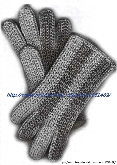 Двухцветные перчатки крючком (498x700, 209Kb)