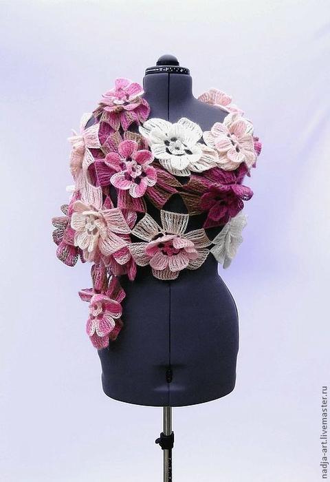 Метки вязание вязание крючком вязаные цветы шарф цветочный шарф мк