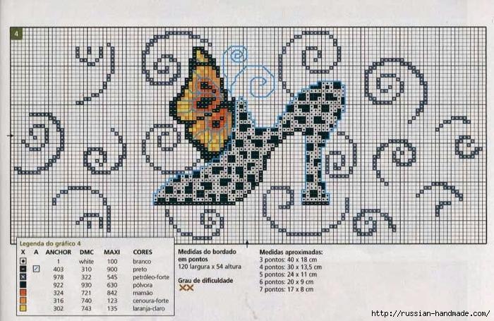 Туфелька - схема вышивки для полотенца (5) (700x455, 292Kb)