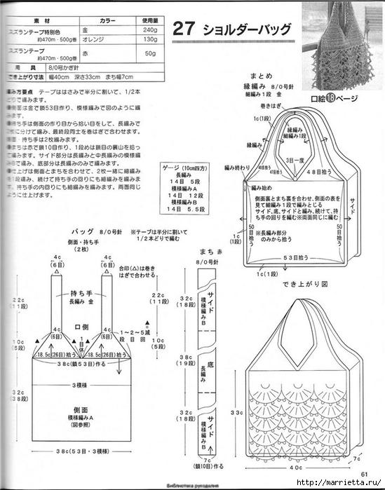 Вязание из мусорных пакетов схемы