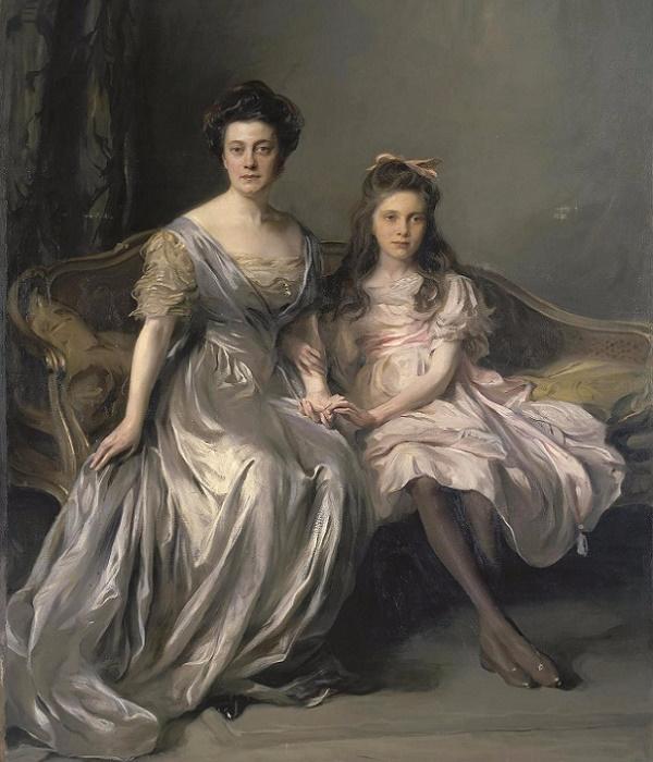 1910-1912_Портрет дамы с дочерью (Портрет Ани и Лани) (Portrait of a Lady with her daughter) (600x700, 322Kb)