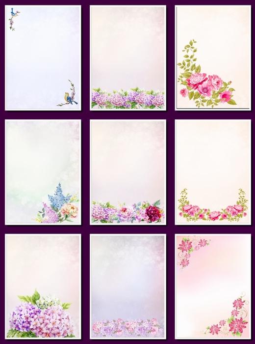 Фоны цветочные для оформления творческих работ, А4. 31  png. Часть 18.