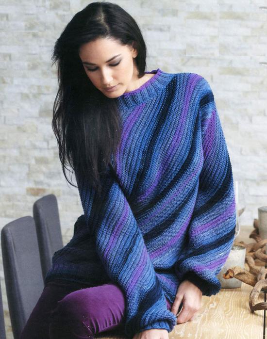 Секционно -окрашеный свитер