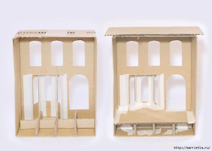 Домик в Викторианском стиле. Из картонной коробки (6) (700x499, 144Kb)