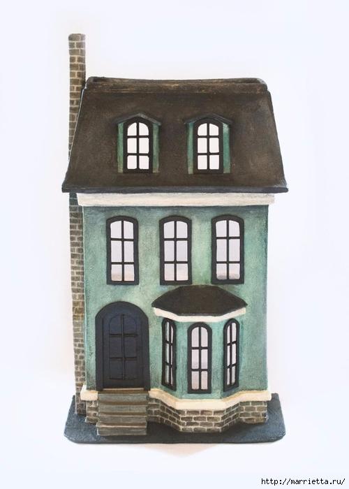Домик в Викторианском стиле. Из картонной коробки (12) (500x700, 160Kb)