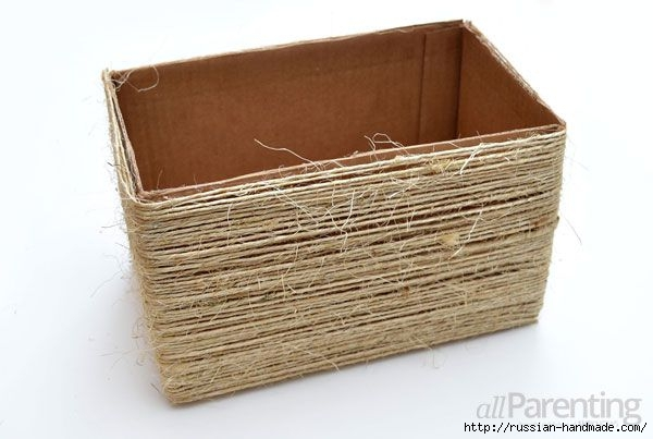 Органайзер из коробки - декорирование шпагатом (6) (600x403, 112Kb)