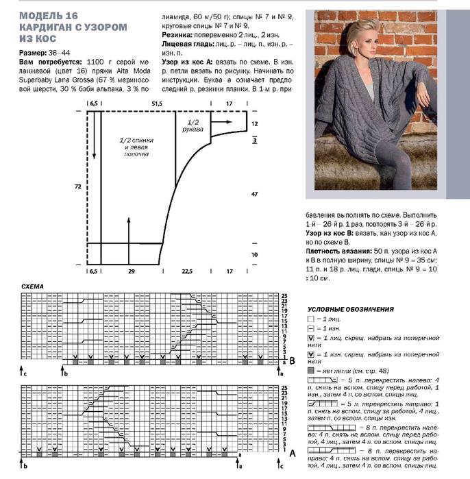 Кардиган крупные косы схема вязания