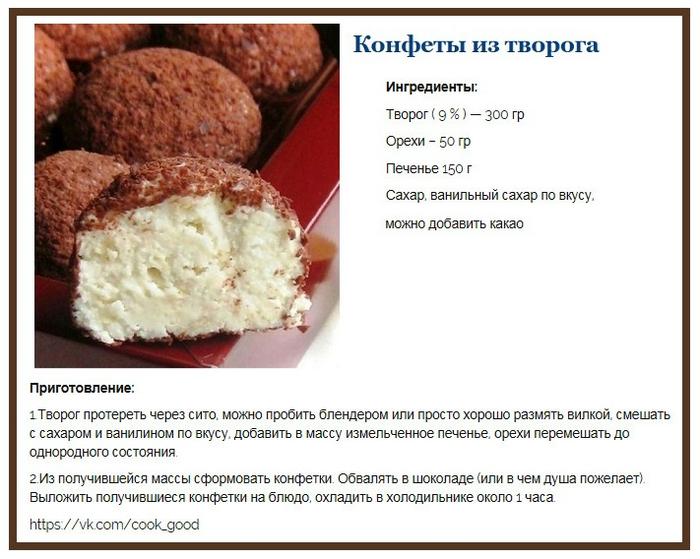 Конфеты из творога рецепт