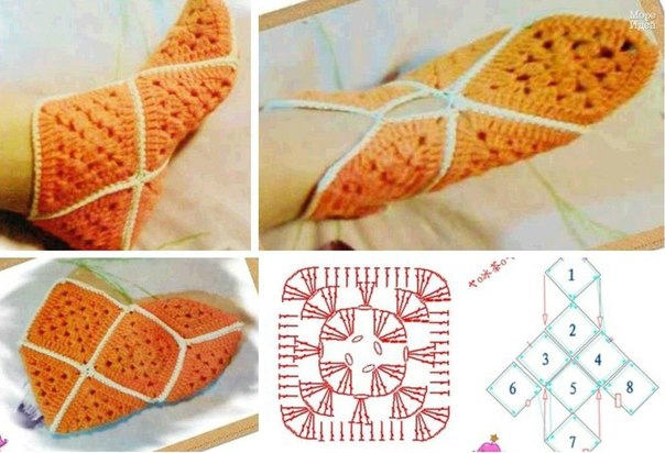 Вязание носков из квадратиков спицами 25