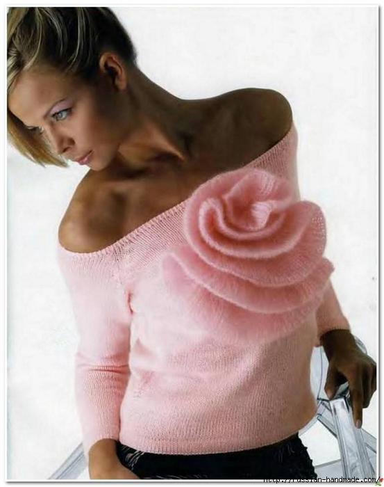 Пуловер спицами с большим цветком (2) (553x700, 199Kb)