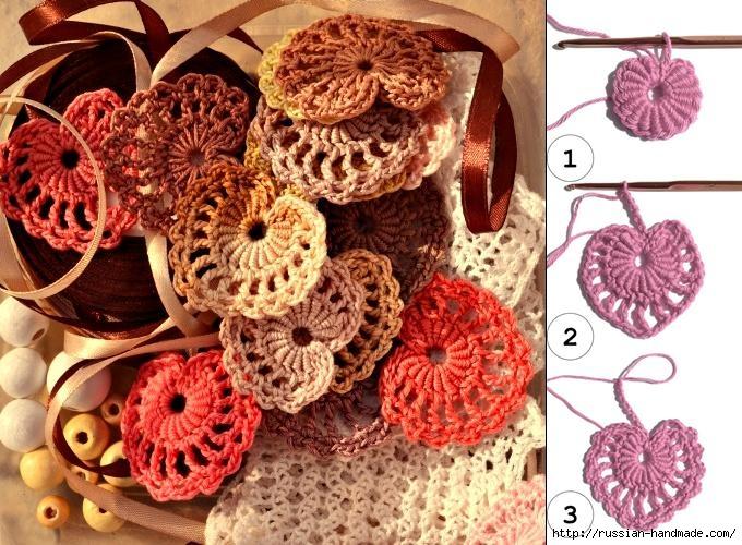 Схемы вязания сердечек - валентинок крючком (5) (680x500, 279Kb)