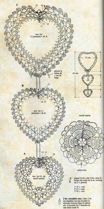 Схемы вязания сердечек - валентинок крючком (7) (349x700, 318Kb)
