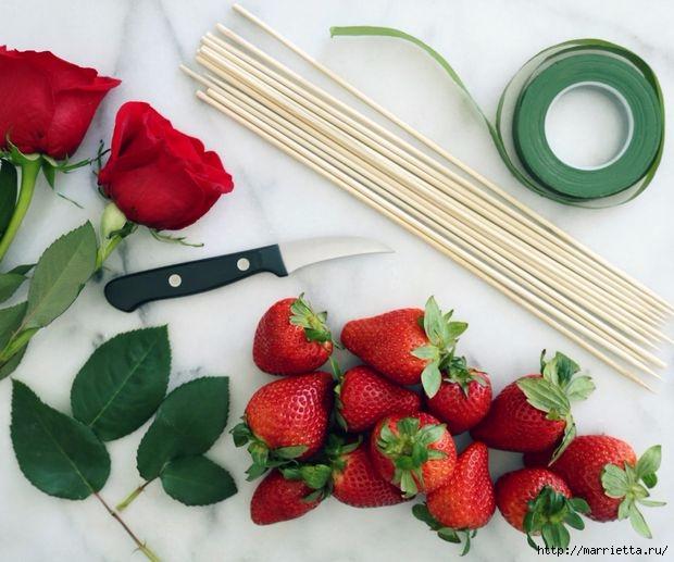 Как сделать букет роз из клубники (1) (620x517, 174Kb)