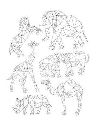 Схема вышивки геометрических животных