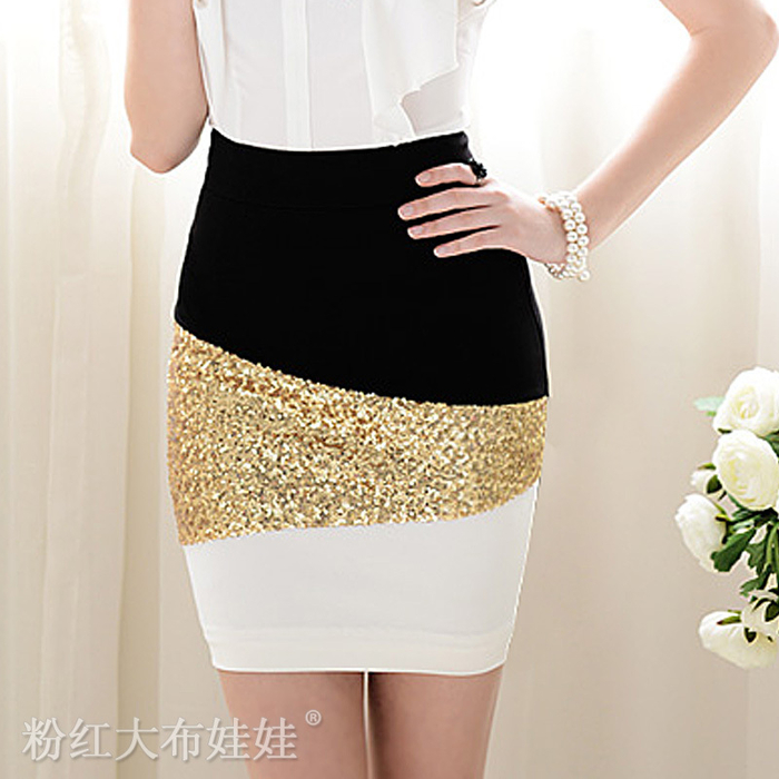 2012-summer-black-and-white-SPLICING-gold-paillette-slim-tight-skirt (700x700, 338Kb)