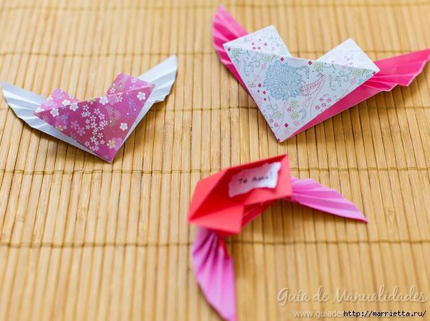 Крылатые валентинки в технике оригами из бумаги (10) (626x467, 221Kb)