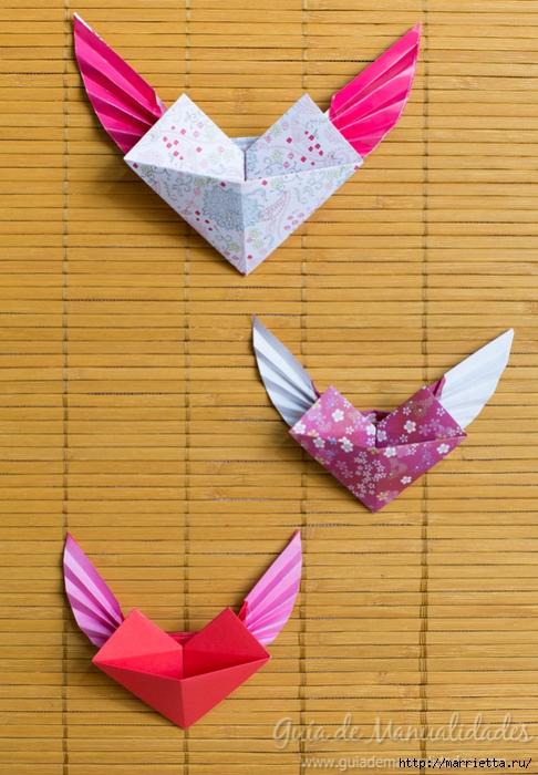 Крылатые валентинки в технике оригами из бумаги (12) (486x700, 291Kb)