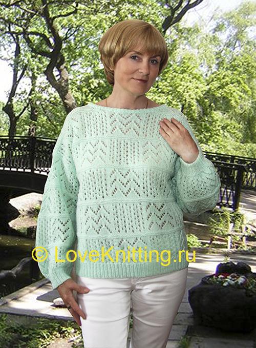 01 Автор Ажурный пуловер МТ2 (500x679, 400Kb)